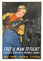 Rosie the Riveter WWII poster New York Central Line